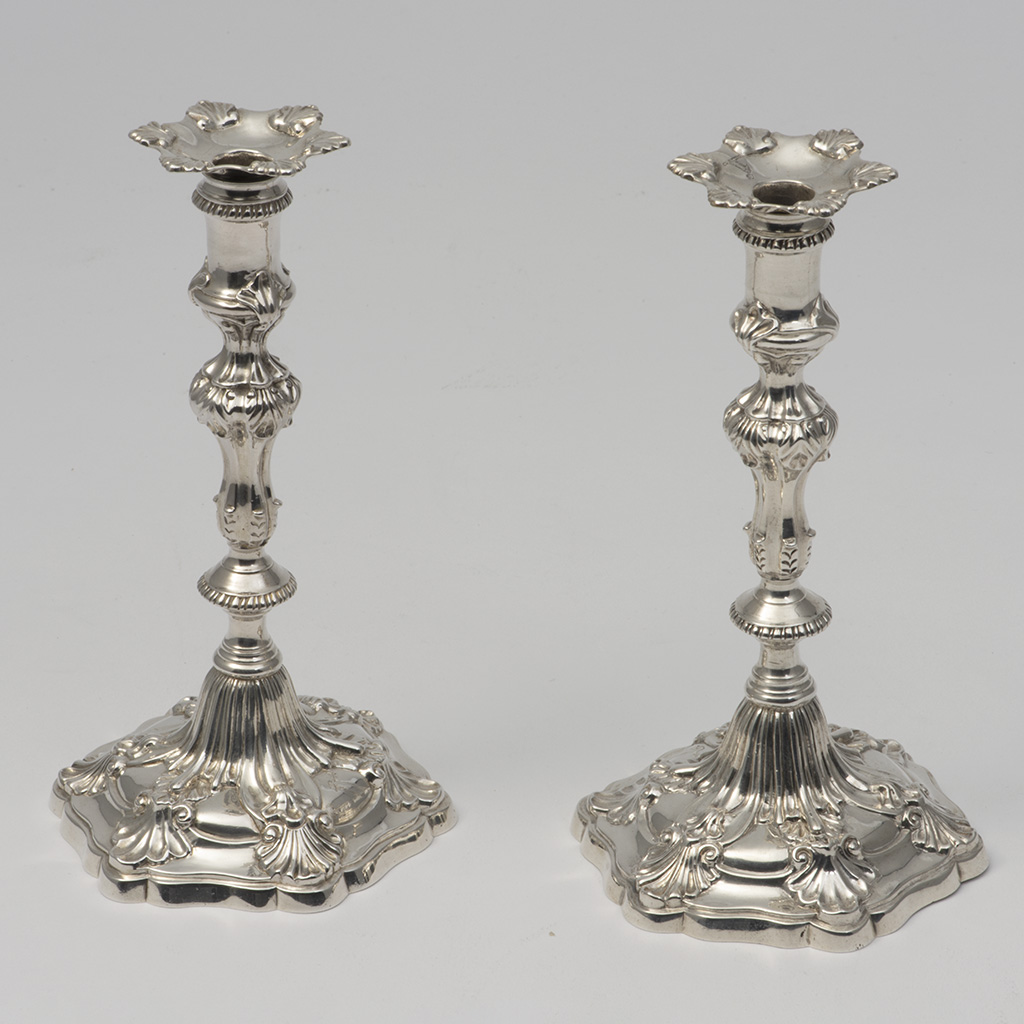 A Pair Of George III Silver Tapersticks.