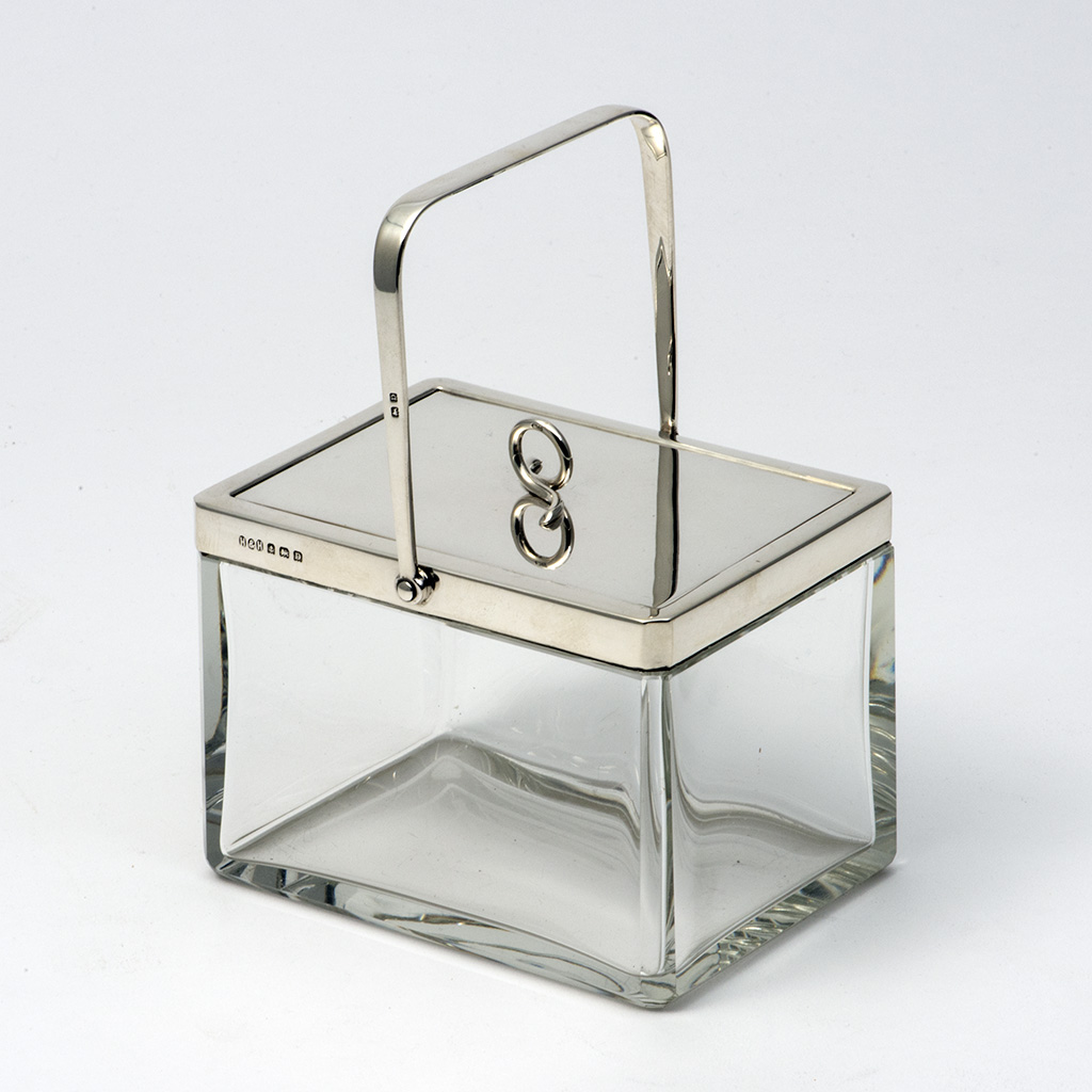 A Silver Mounted Glass Biscuit Box By Hukin And Heath.