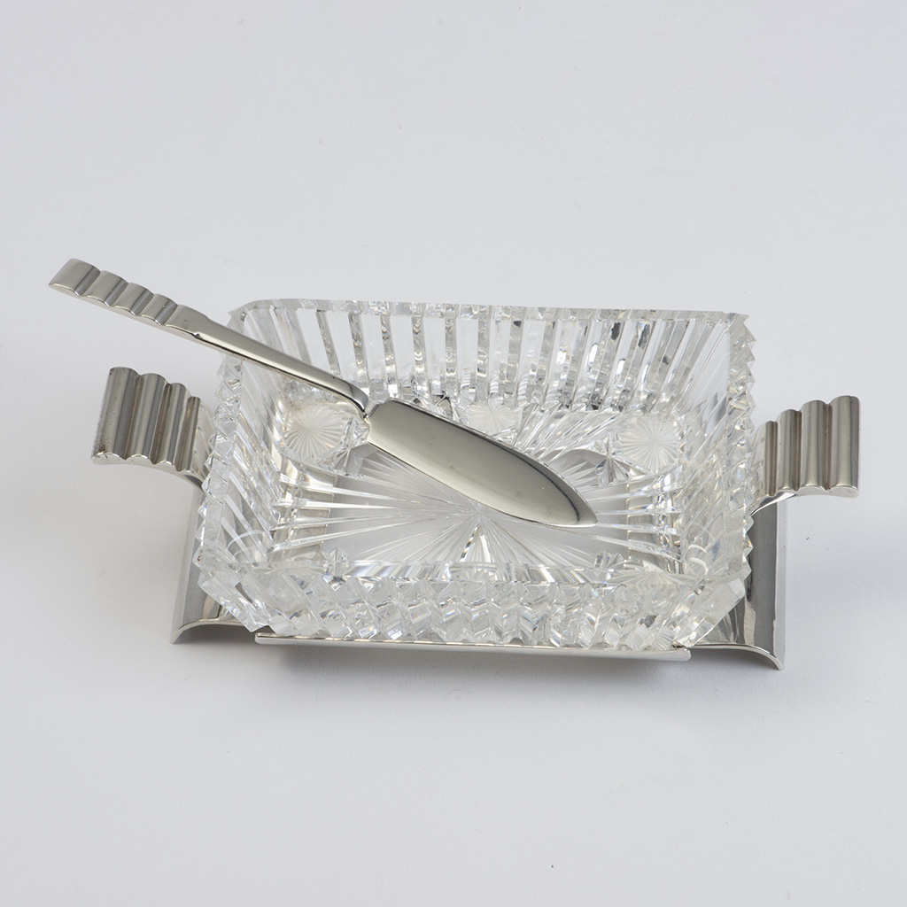 An R.E. Stone Silver And Glass Butter Dish And Butter Knife.