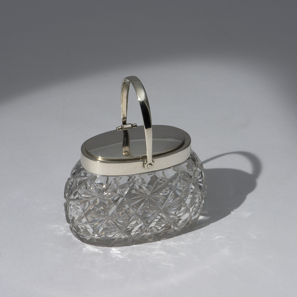 An Edwardian Patent Silver Mounted Jam Pot By Hukin And Heath.