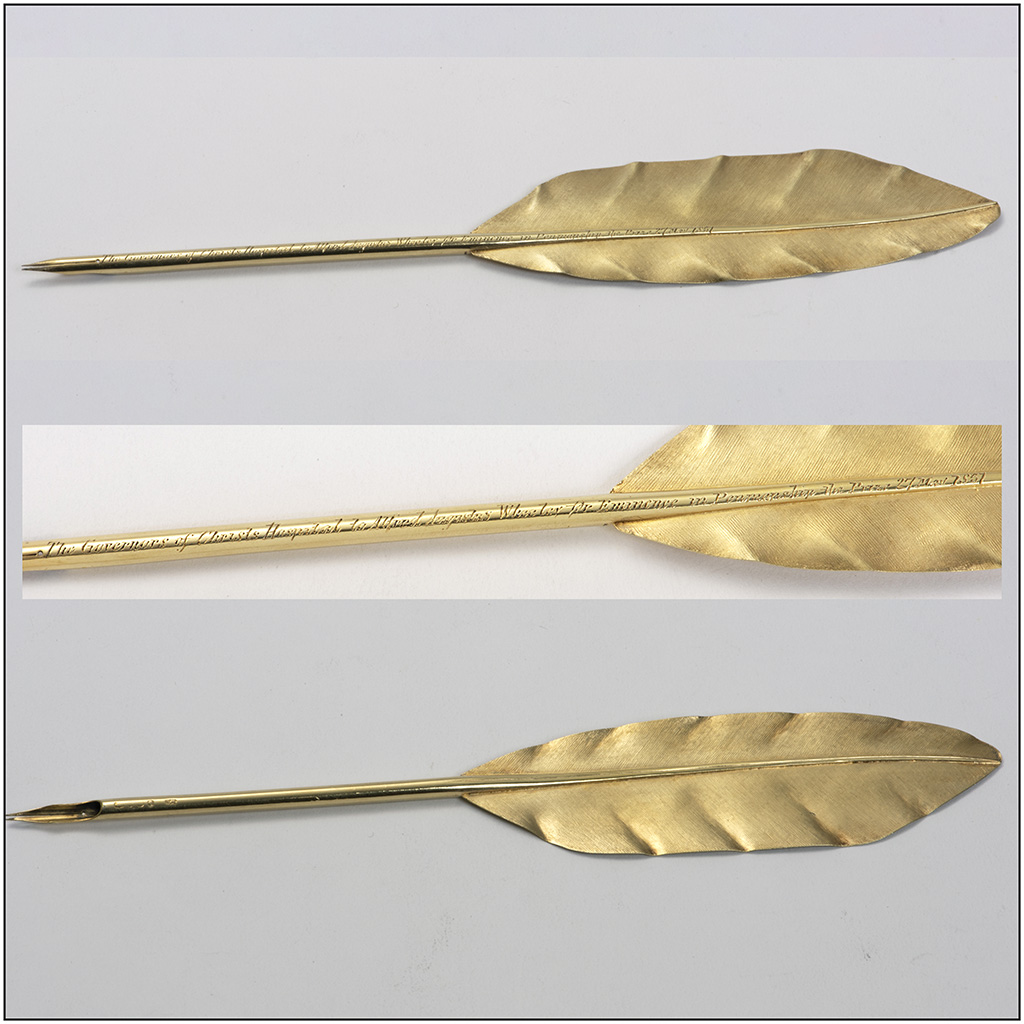 A Victorian Silver-gilt Quill Prize For Penmanship From Christ's Hospital School.