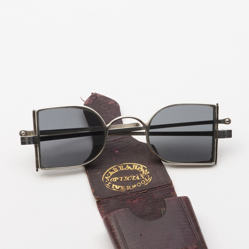 A Pair Of Victorian Silver Sunglasses With Hinged Side Panels.