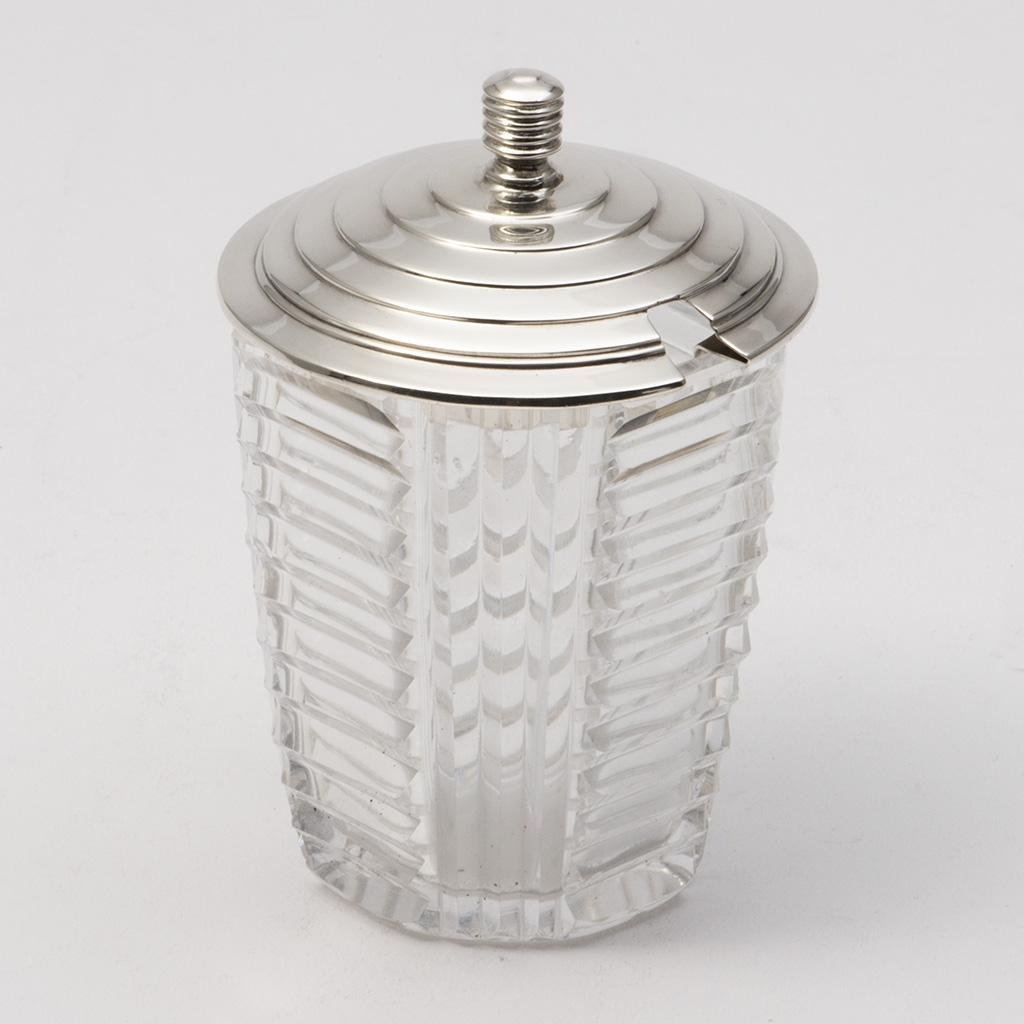 An Art Deco Silver And Glass Jam Pot.