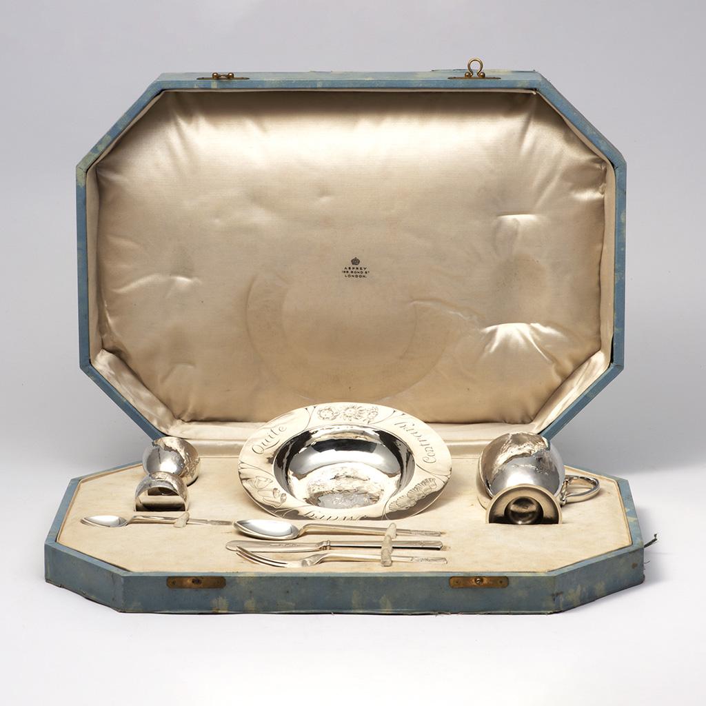 A Child's Silver Set By R.E. Stone.