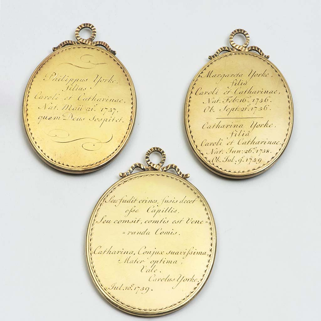 Three Unmarked Silver-gilt 18th Century Hair Memorials For The Yorke Family Of Wimpole Hall, Cambridgeshire..